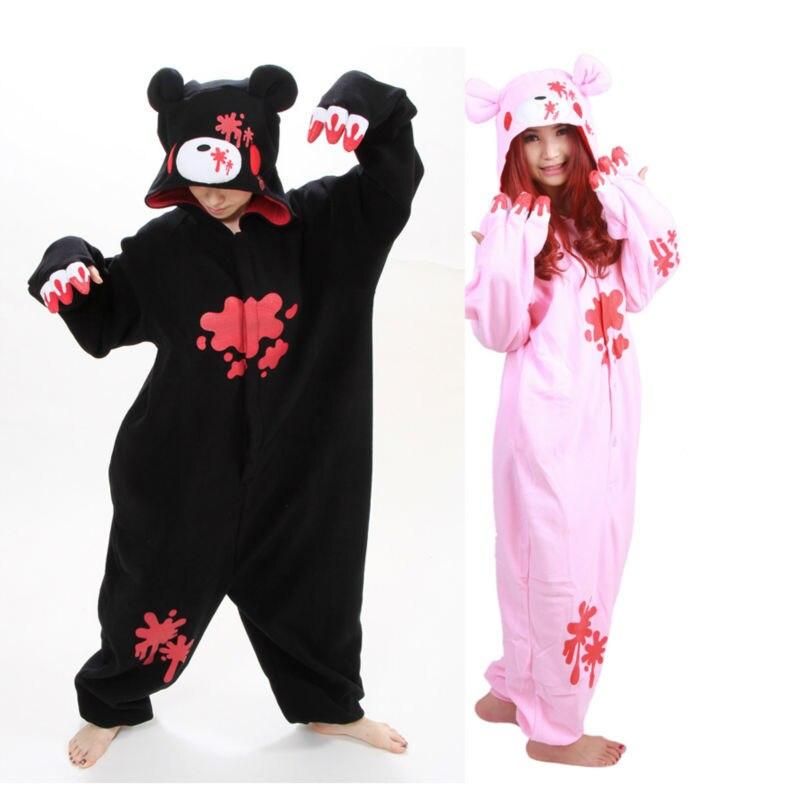 New! 2019 Fashion Animal Anime Cartoon Black/Pink Gloomy Bear Autumn & Winter Hooded Pajamas,Halloween Party Cosplay Costume