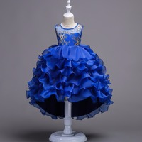 Blue Lace Flower Girl Dress Sequins Pageant Wedding Dress Little Bridesmaid Elegant Formal Teenagers Girls Party Dress 12 Years