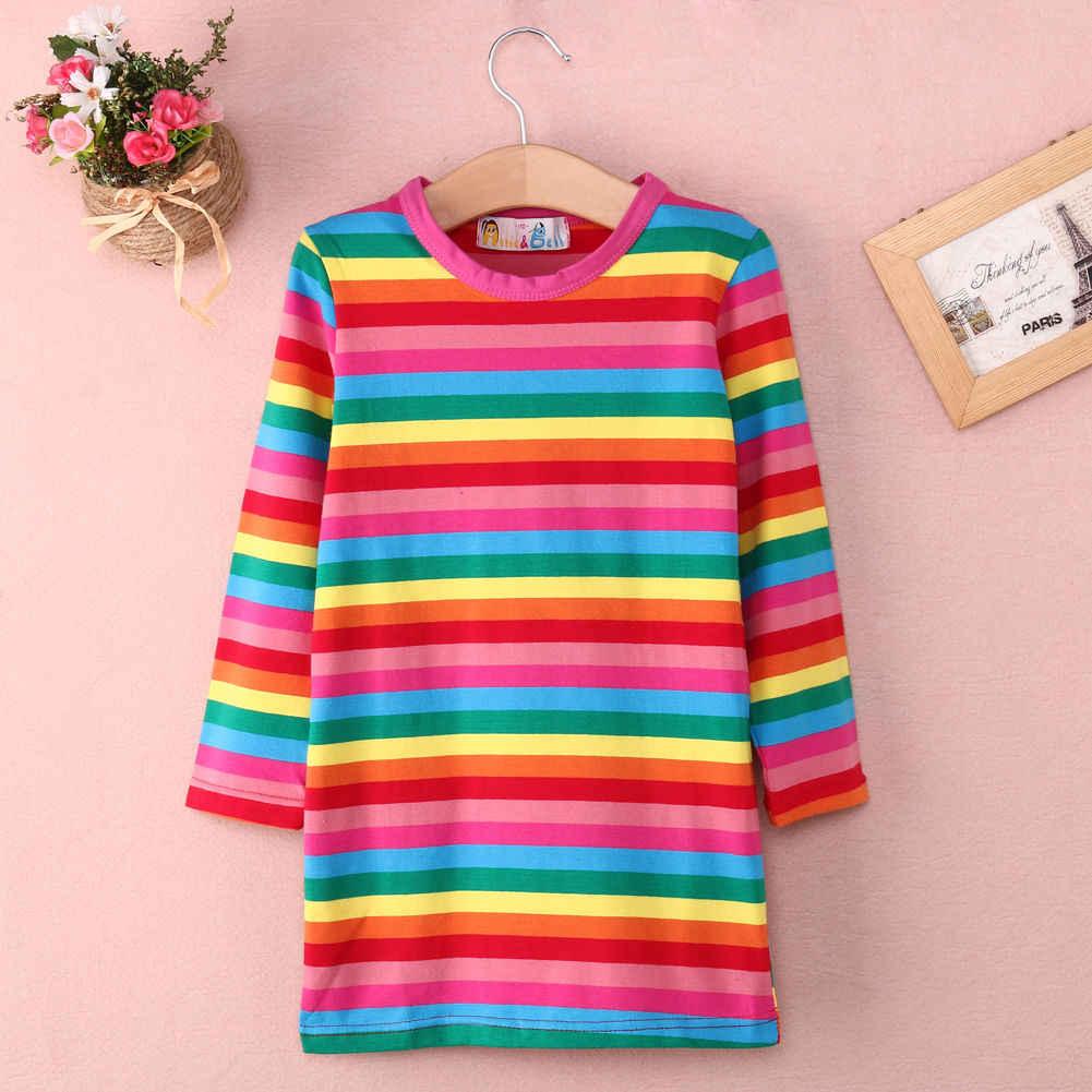 789c4412cfc00e Kids Baby Girls Rainbow Striped Dress Casual Long Sleeve Cute A Line Mini Dresses  Clothes