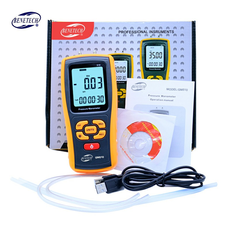 Handheld Digital Pressure Meter Manometer +/- 10kPa GM510 Pressure Gauge Tester USB Manometro with retail box