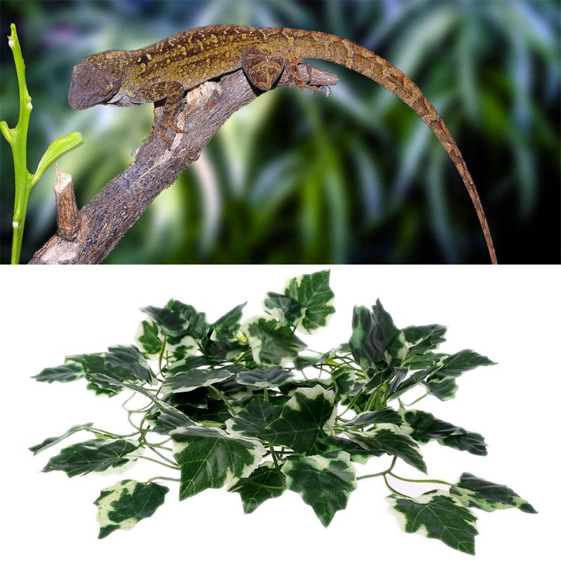 2m Reptile Terrarium Artificial Vine Lizards Box Decoration Lizard Plastic Fake Plants Green Leaves Habitat Decor C42