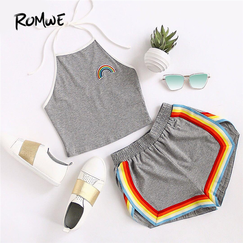 ROMWE 2 Piece Set Shorts Women Crop Tops Women 2018 Summer Ladies Rainbow Patch Halter Top and Colorful Trimming Shorts Set