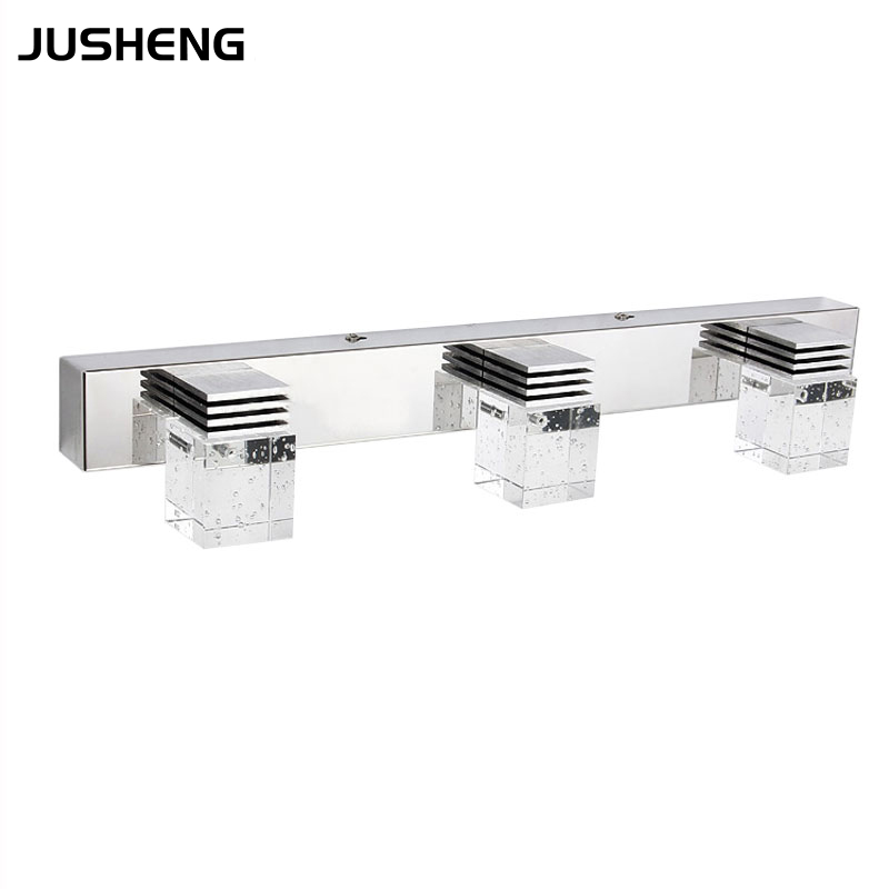 JUSHENG LED Mirror Light in Bathroom 3-lights Crystal Indoor Bathroom Front Mirror Lights Toilet Wall Mounted Lamps