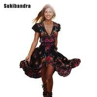 Sukibandra Verano Largo Maxi de La Vendimia de Las Mujeres Vestido de la Impresión Floral de Boho Chic Étnicas Retro Bohemio Vestido de Hippie Chic Vestidos de Playa