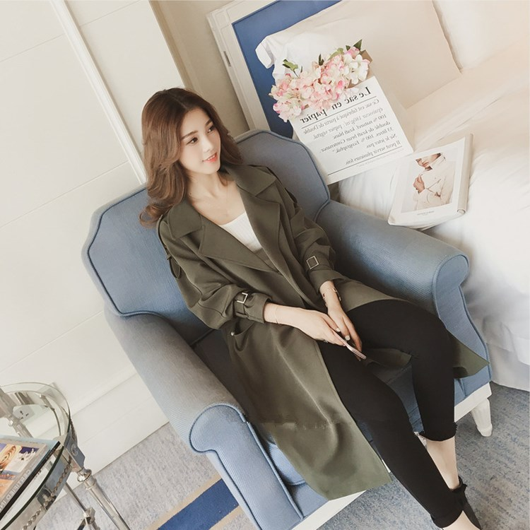 Autumn New Women   Trench   Coat 2018 Medium Long Loose Windbreaker Black/Green Office Ladies Trenchs