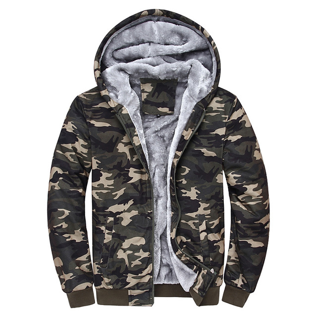 Camo Men s Hoodies Casual Winter Warm Camouflage Mens Jackets Velvet Fleece  Zipper Coat Sportwear Bomber Jacket Tracksuit Male 48cd709868c