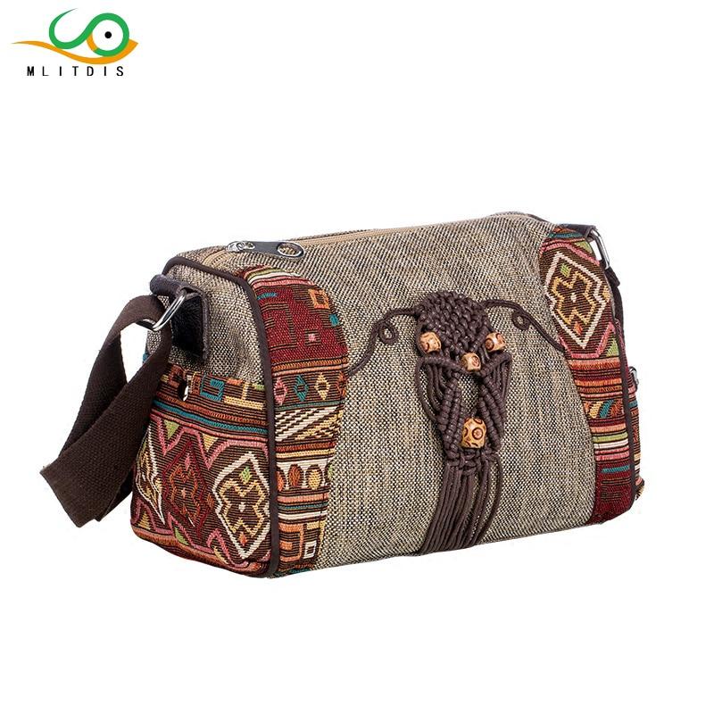 MLITDIS Women Canvas Bags Retro Messenger Bag Women Shoulder Bag <font><b>Tribal</b></font> Pattern Printed Natural Bags Lady's Handmade <font><b>Handbags</b></font>