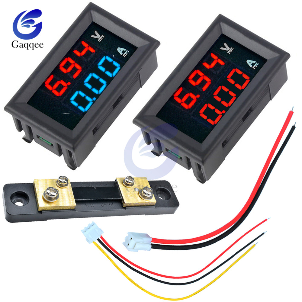 Mini Digital <font><b>Voltmeter</b></font> <font><b>Ammeter</b></font> <font><b>DC</b></font> <font><b>100V</b></font> <font><b>50A</b></font> Panel Amp Volt Voltage Current Meter Detector Tester 0.56