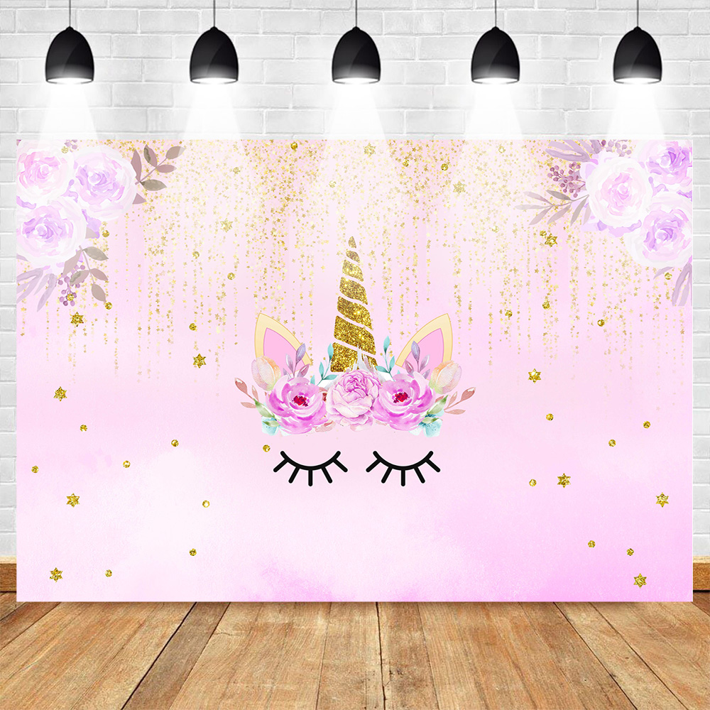 Mohofoto Unicorn Backdrop For Photography Photophone Birthday Background For Girls Flower Backdrops Baby Gold Sequins Shoot