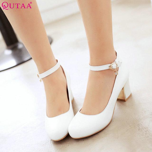 QUTAA Blanco de Las Señoras Del Verano Zapatos de Tacón Alto Cuadrados Dedo Del Pie Acentuado zapato con Cierre de cuero de LA PU Mujer Bombas Para Mujer Zapatos De Boda Tamaño 34-43