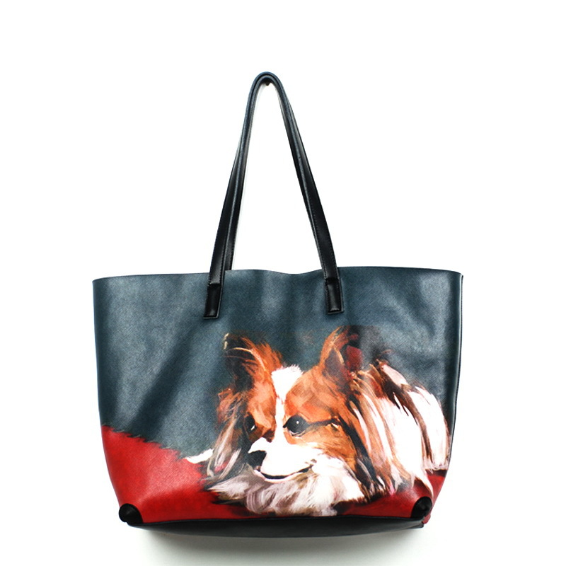 купить Novelty female dog print big genuine leather tote handbag large capacity unique women single shoulder brief casual shopping bag недорого