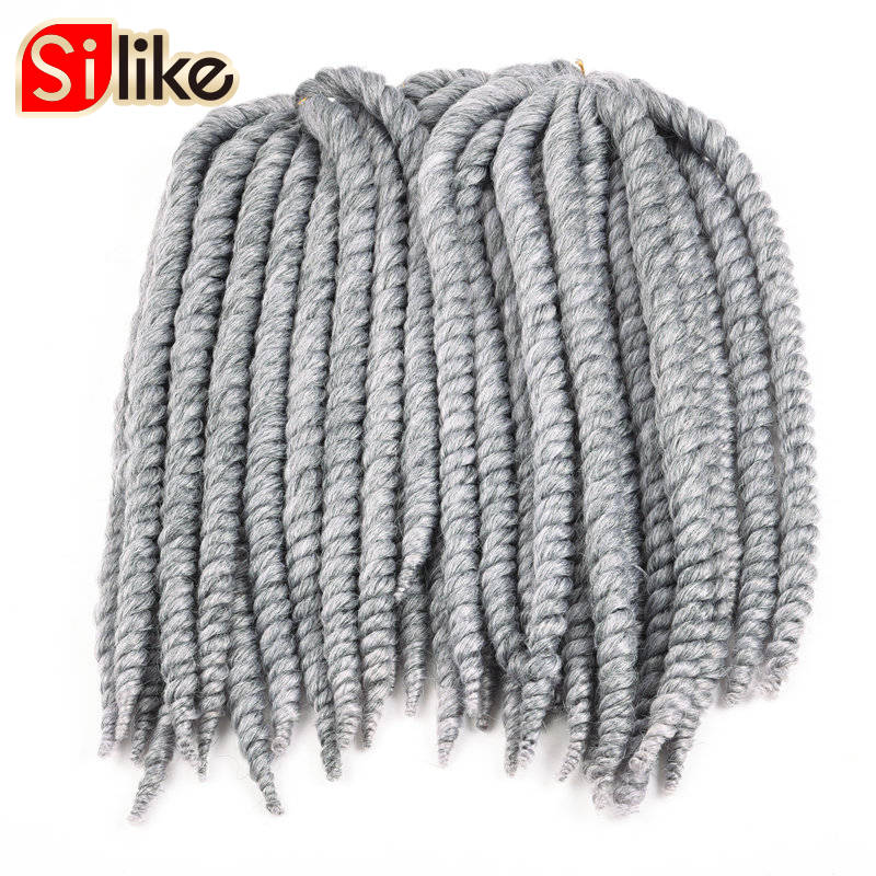 "Silike 14"" 18"" 22"" Fat Havana Twist Crochet Braids 6 Packs/lot Hair Extensions for Women and Kids 80g/pack Bug Grey 8 colors"