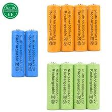 Baterias para Câmera Misturar Cores 10 PCS Ni-mh AA 3000 MAH Bateria Recarregável 1.2 V 2A Poder Brinquedos