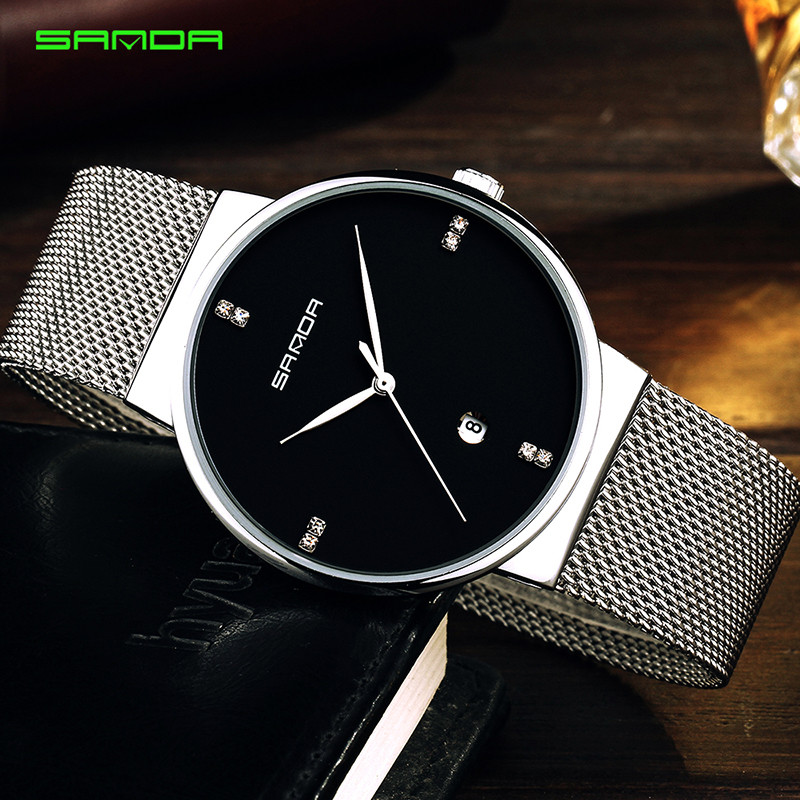 New Men Watches Top Brand Luxury 50m Waterproof Ultra Thin Date Clock Male Steel Strap Casual Quartz Watch Men Wrist Sport Watch skmei luxury brand stainless steel strap analog display date moon phase men s quartz watch casual watch waterproof men watches