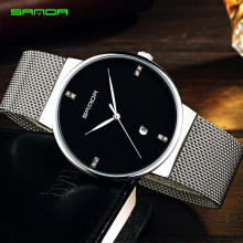 New Men Watches Top Brand Luxury 50m Waterproof Ultra Thin Date Clock Male Steel Strap Casual Quartz Watch Men Wrist Sport Watch купить недорого в Москве