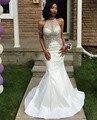 Branco Sereia Vestidos de Baile 2017 Halter Frisada com Pedrinhas Backless Satin vestido de Noite Formal Do Partido Vestidos PD270