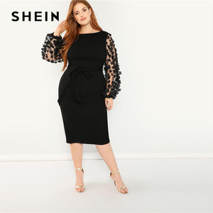 Image 4 - SHEIN kobiety Plus rozmiar elegancka czarna sukienka ołówkowa z aplikacją Mesh latarnia rękaw główna ulica z paskiem sukienki na imprezę slim fit