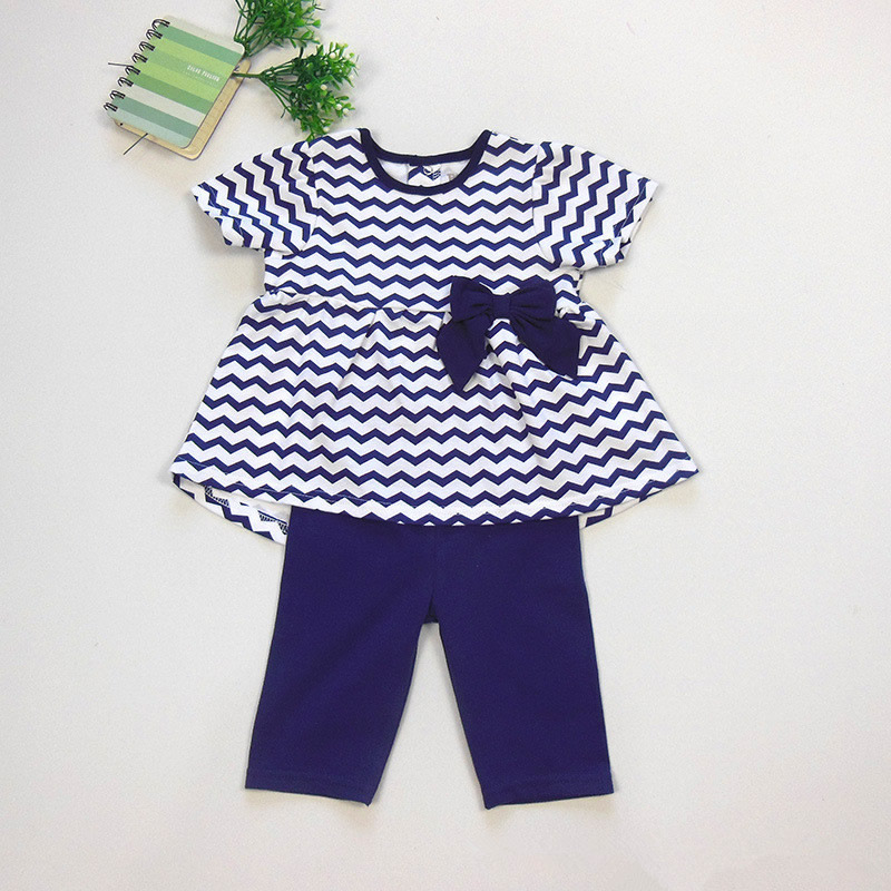 High Quality Baby Girl Clothes Newborn Summer Costume 2pcs Girl Baby Toddler Striped Top+Pants Trousers Outfit 0-24 Months