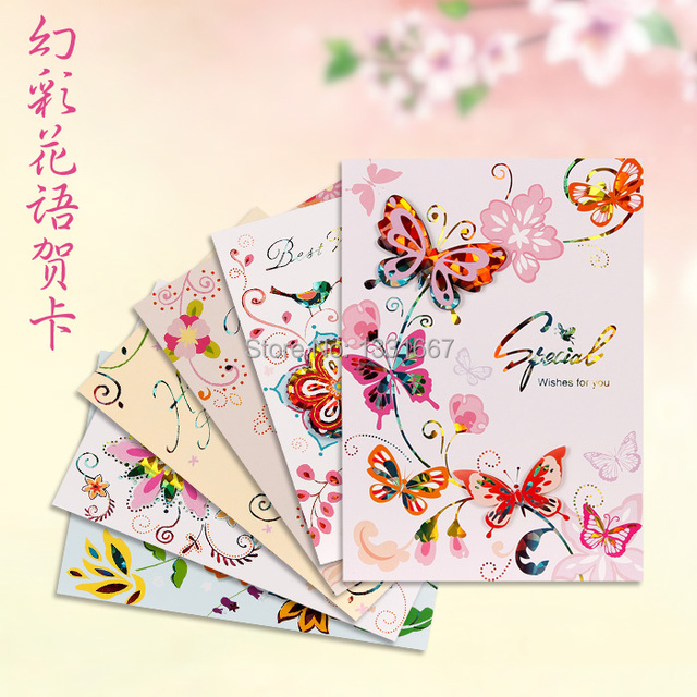 Greeting Card Quality Birthday Three Dimensional Blessing Cards Flower Language Commercial Gilding Embossing Craft