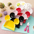 2016 New Melamine Baby Infant Cute Feeding Plate Fruit Dishes Kids White Black Red Yellow Pink Color Child Tableware