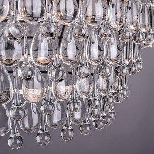 Image 5 - خمر قطرات زجاج كبير Led كريستال صلب Lustres الثريات المعلقات الحديثة E14 مصباح معلق للمطبخ غرفة المعيشة غرفة نوم