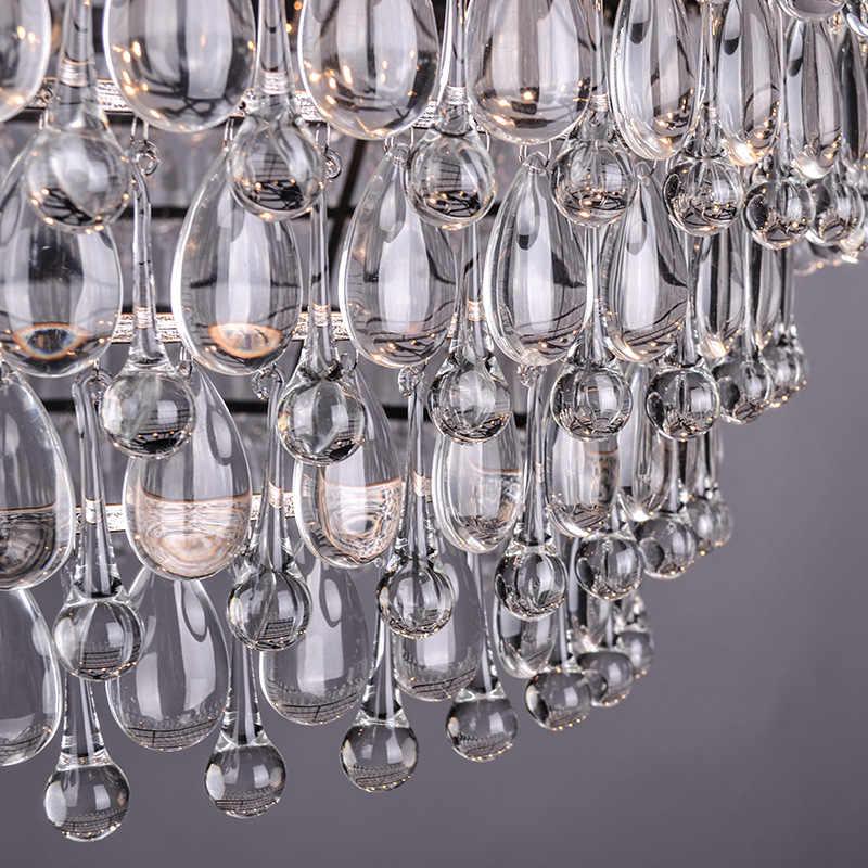 בציר גדול זכוכית טיפות Led קריסטל ברזל Lustres נברשות תליוני מודרני E14 תליית מנורת עבור מטבח סלון חדר שינה