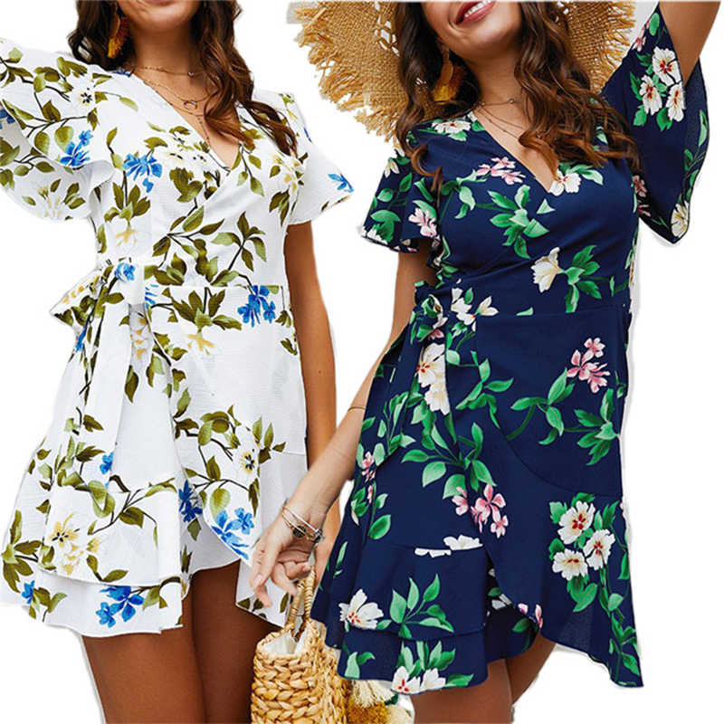Wanita Musim Panas Gaun 2019 BoHo Floral Cetak Ikat Pinggang Gaun Pantai Tunik Kasual Leher V Lengan Kupu-kupu Wrap Mini Dress PP-358