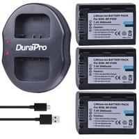3pcs NP FH50 NP FH50 NPFH50 Battery + USB Dual Charger For Sony A230 A290 A390 DSC HX1 HX100 HX200 HDR TG1E TG3 TG5 TG7 Camera