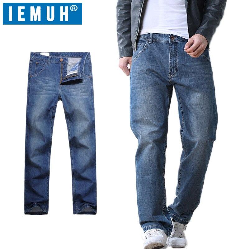 Iemuh زائد حجم الجينز الرجل الجينز عارضة منتصف الخصر فضفاض السراويل الطويلة الذكور الصلبة مستقيم الجينز للرجال الكلاسيكية 28 48-في جينز من ملابس الرجال على  مجموعة 2