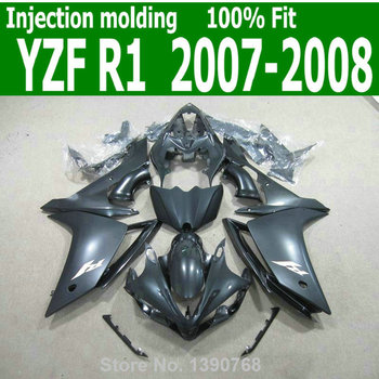 ABS body kits For YAMAHA YZF R1 07 2007 08 (  Pure Black ) high quality Injection fairing kit CQ47