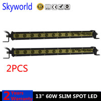 2X 13'' 60w Yellow Led Bar Slim Offroad 6000K Single Row Work Light Bar Spot/Flood For Ford F 150 SUV ATV Driving Fog Lamp