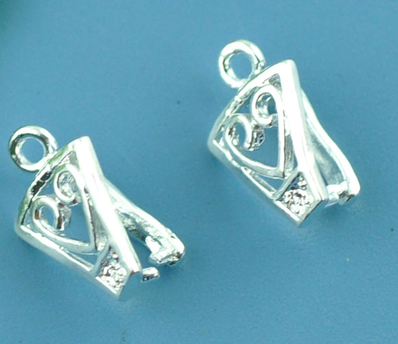 Copper Pendant Bails Clips & Pendant Clasps Silver Plated 12mm( 4/8