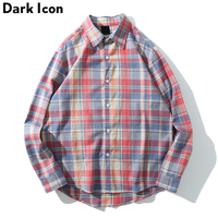 Dark Icon Plaid Shirt Men Oversize Long Sleeve Men's Shirt Loose Style Checkered Flannel Shirts for Men