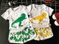 Moda 2016 de Los Niños del verano conjunto activo camisetas y shorts boy girlcartoon dinosaurio patrón Trajes ropa 2 unids