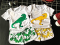 fashion 2016 summer Children's active set t-shirts and shorts boy girlcartoon dinosaur pattern Suits clothes 2pcs