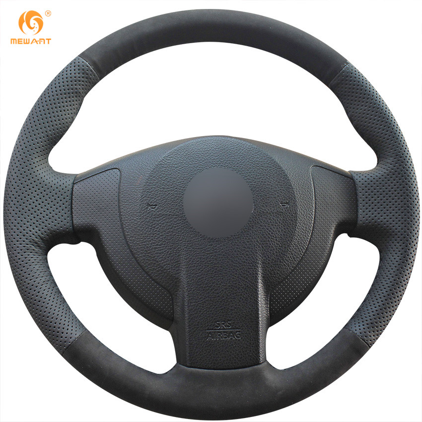 MEWANT Black Genuine Leather Black Suede Car Steering Wheel Cover for Nissan QASHQAI X-Trail NV200 Rogue mewant black genuine leather black suede car steering wheel cover for mitsubishi lancer ex outlander asx colt pajero sport