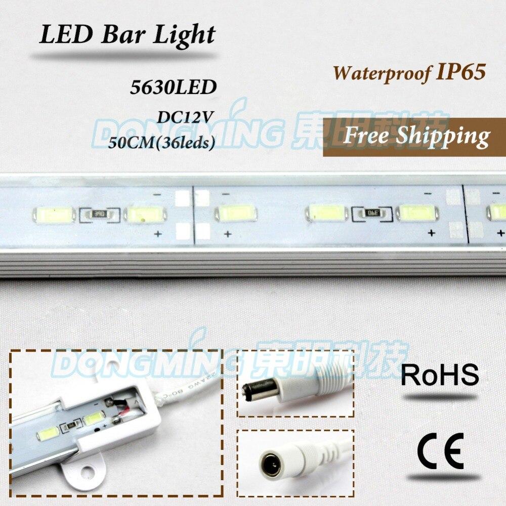 Smd 5630 0.5m 50cm DC12V 36leds Led Strip Hard Luces Bar Light + 12V 5A Power Adapter + DC Connector Aluminium Profile Aquarium