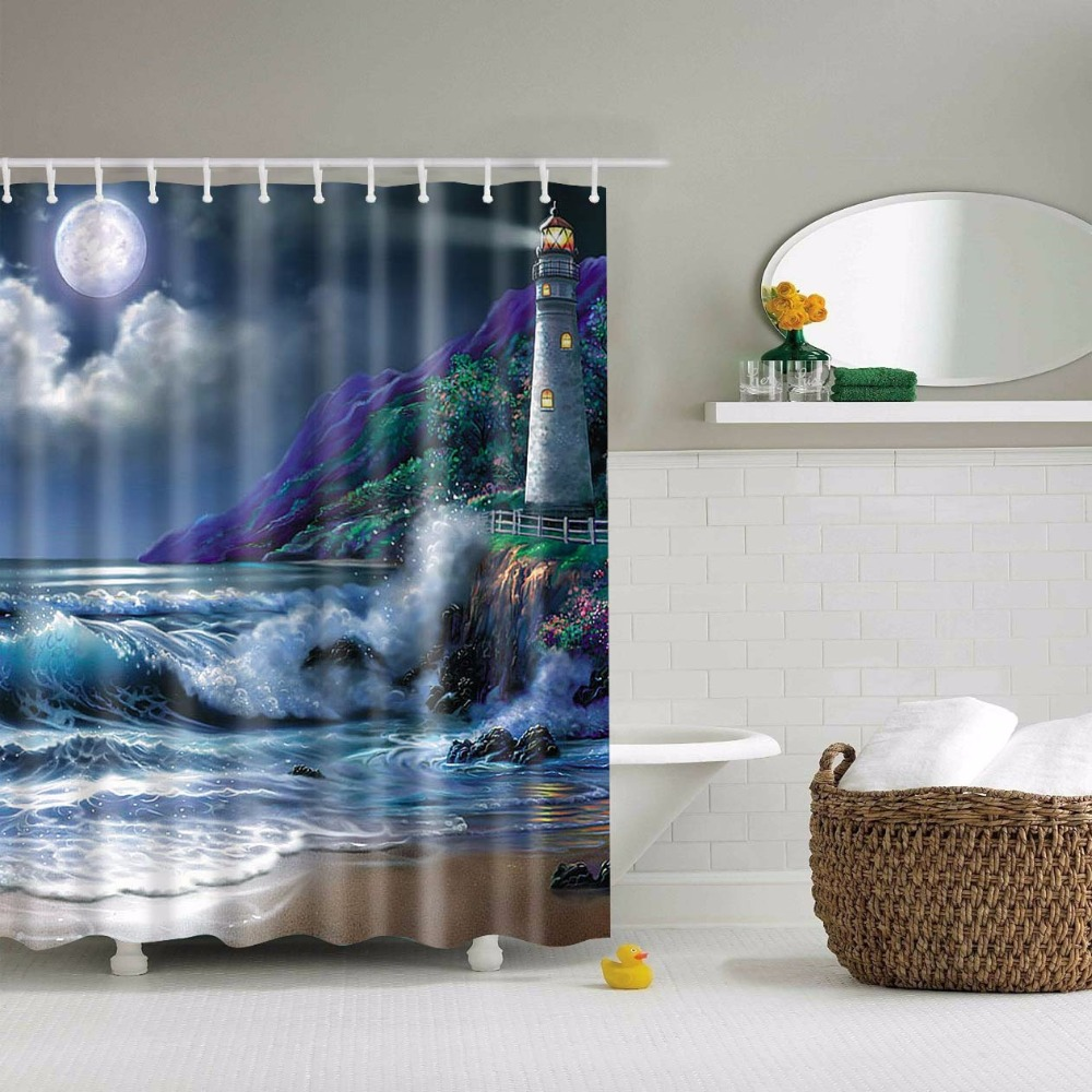 Natural shower curtain - Beddingoutlet Bathroom Shower Curtain Nature Scene Mountain River Along Forest Waterfall Rocks Stream Fabric Lakehouse Decor