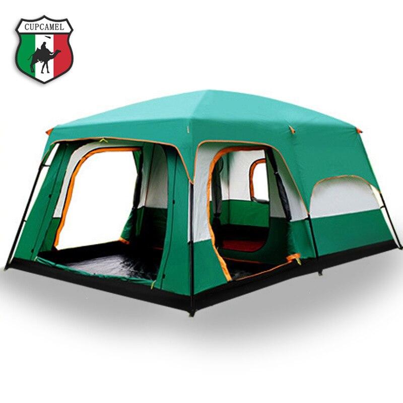 O camelo ao ar livre Novo grande espaço de acampamento passeio de dois quartos tenda ultra-grande de altíssima qualidade à prova d' água barraca de acampamento Livre grátis