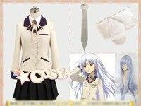 Hot Anime Angel Beats! Kanade Tachibana Cosplay Costume Yellow Uniform Free Shipping