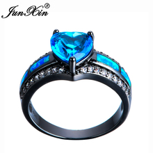 JUNXIN Brand Lake Blue Heart Zircon Blue Fire Opal Heart Ring Fashion Black Gold Filled Jewelry Vintage Wedding Rings For Women