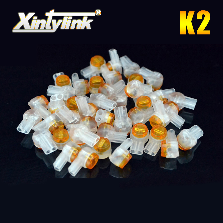 xintylink k2 connector crimp connection terminals waterproof wiring ethernet cable telephone cord high quality 100pcs 50pcs k3 wire connector rj45 connector crimp connection terminal quick fit splicing waterproof wiring ethernet telephone cable