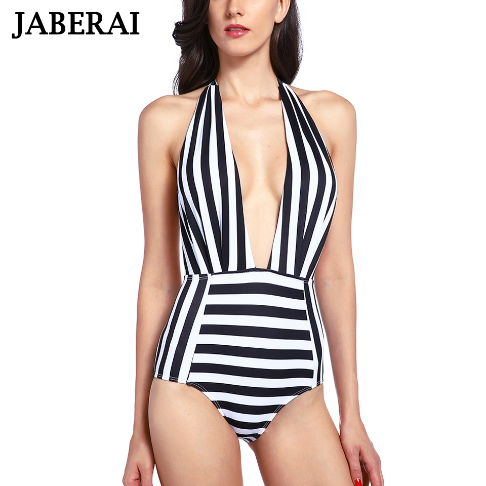 JABERAI Sexy Deep V Neck One Piece Swimsuit Women Stripe Bathing Suit Push Up Monokinis Swimwear Bandage Backless Bodysuit newest sexy one piece women swimwear black white deep v neck backless rope lace up bodysuit swimsuit hollow out trajes de bano