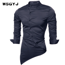 WSGYJ Brand 2018 Fashion Male Shirt Long-Sleeves Tops Fabric High-Quality Mandarin-Collar Mens Dress Shirts Slim Men Shirt 2XL