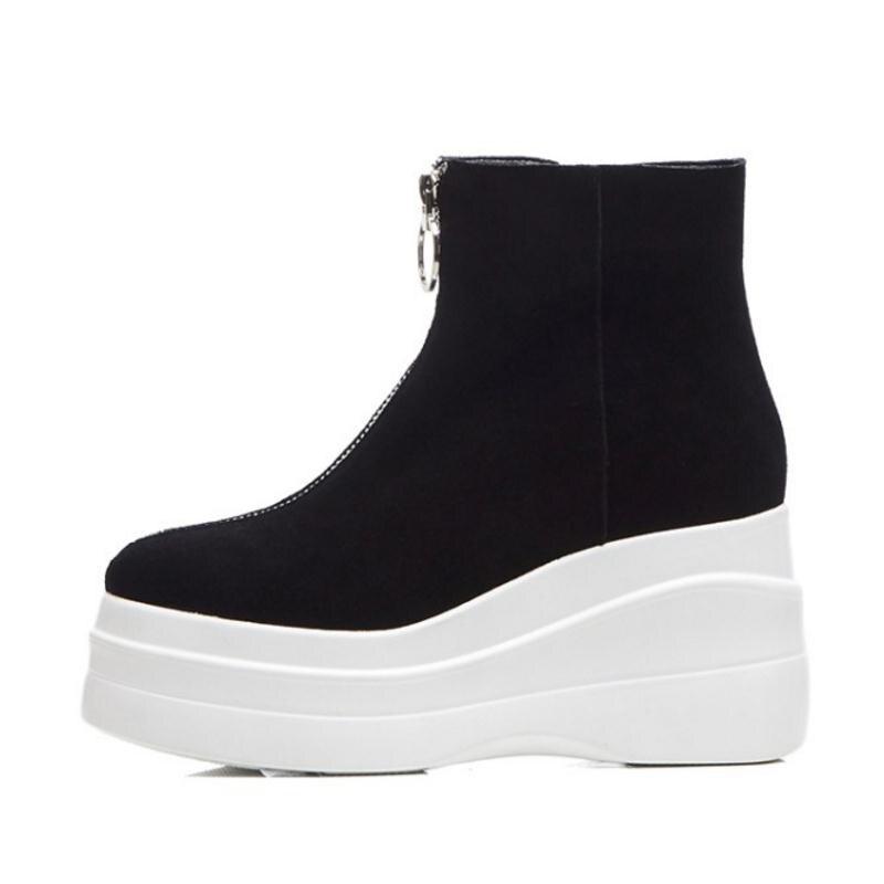 FITWEE kobiety prawdziwe skórzane botki pluszowe futro ciepłe zimowe buty dla kobiet moda na zamek błyskawiczny buty na koturnie buty rozmiar 34  39 w Buty do kostki od Buty na  Grupa 2
