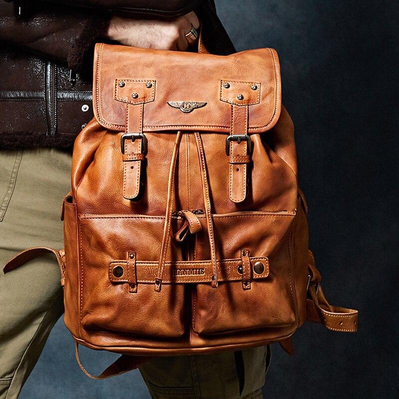 luxury Retro Multifunctional Male Backpacks Genuine Leather Business Shoulder Bag Casual Wearproof Teenager Schoolbag