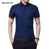BROWON Gloednieuwe Formele Shirt Mannen Korte Mouw Turn Down Kleur Slim Fit Casual Shirt Plus Size M-5XL Camisa Masculina
