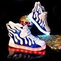 2017 Новых Детей LED Light Shoes Пламя Дизайн Мальчики Улица Dance Shoes Дети Девушка Хип-Хоп Мода Кроссовки Освещенные Детей сапоги