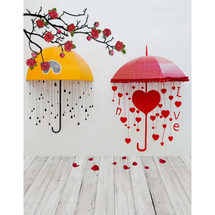 Putih wallpaper lucu colorful Payung bunga anak baru lahir vinyl lantai kayu fotografi latar belakang vinyl