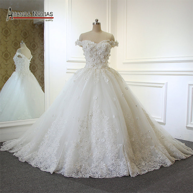 2017 Newest Special Lace Ball Gown Real Amanda Novias Wedding Dress With Flowers